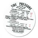 1968 Camaro Tire Pressure Decal