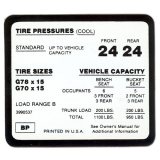 1970-1973 Camaro Tire Pressure Decal All  Code BP