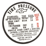 1967 Camaro Tire Pressure Decal