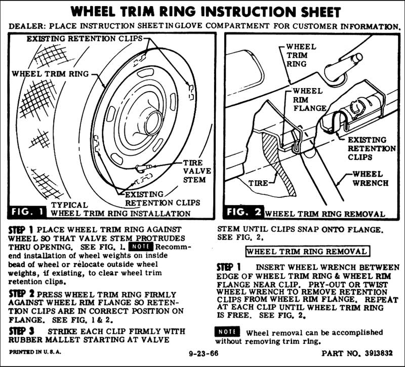 1964-1977 El Camino Rally Wheel Trim Ring Glove Box Instructions
