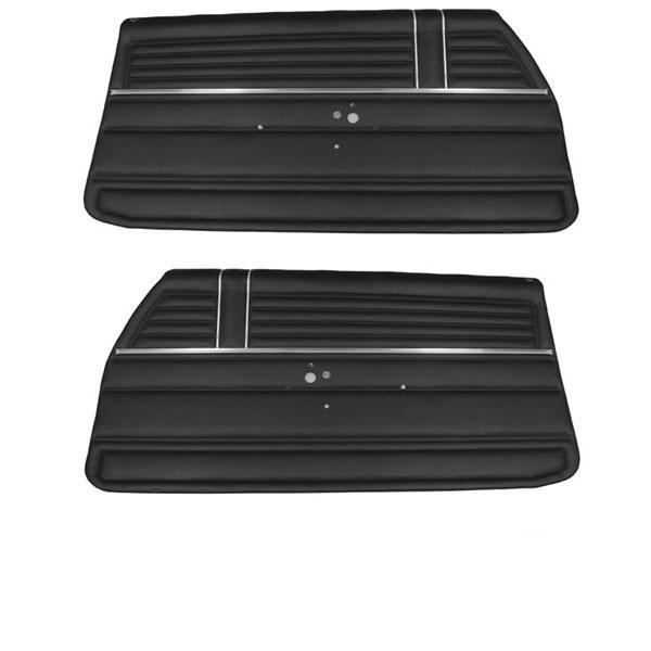 1968 Chevelle Coupe Front Door Panels, Pre-Assembled, Black