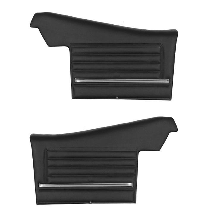 1968 Chevelle Convertible Rear Door Panels, Pre-Assembled, Black
