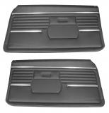 1968 Camaro Standard Front PUI Door Panels, Black, Pre-Assembled