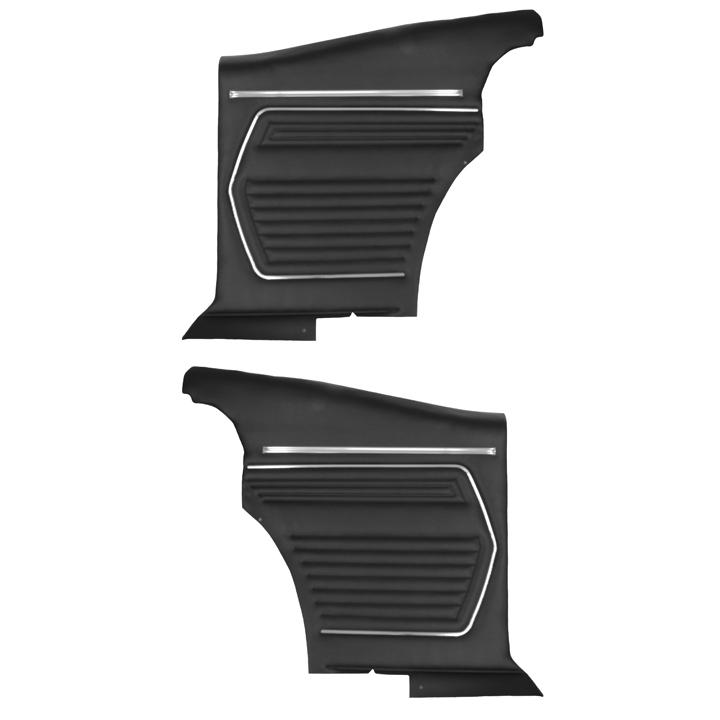 1969 Camaro Coupe Standard Rear PUI Door Panels, Black, Pre-Assembled