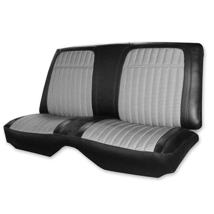 1969 Chevrolet Convertible Houndstooth Rear Seat Covers White