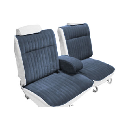 1983 Monte Carlo Ss Bench Seat Covers W Arm Rest White Blue