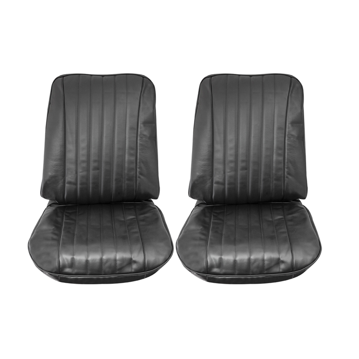 For Chevy Chevelle 68 Front Black Madrid Grain Vinyl Bucket Seat Covers