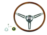 1967-1968 Nova Walnut Sport Steering Wheel Kit w/ Yenko Emblem, Non-Tilt