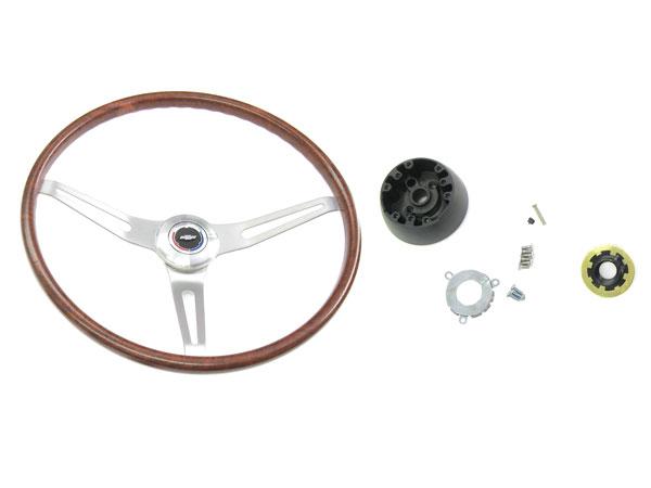 1967-1968 Camaro Walnut Steering Wheel Kit Without Tilt