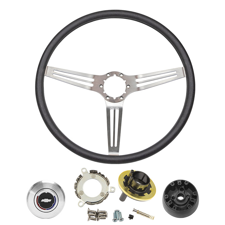 1967-1968 Camaro Black Comfort Grip Sport Steering Wheel Kit, Silver Spokes With Slots