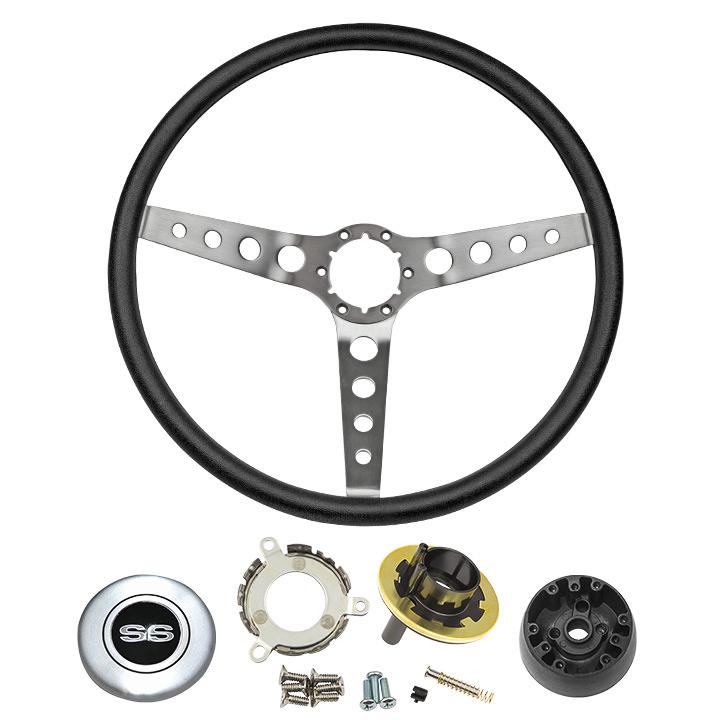 1967-1968 Camaro Black Comfort Grip Steering Wheel Kit W/ SS Emblem Silver Spoke W/ Holes