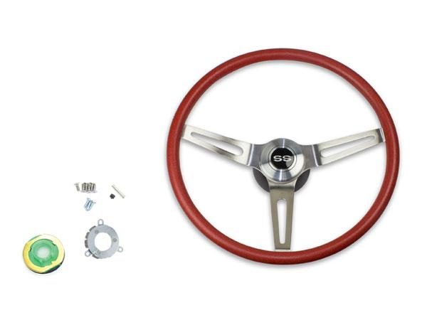 1969-1970 El Camino Red Comfort Grip Sport Steering Wheel Kit w/ SS Emblem, w/o Tilt