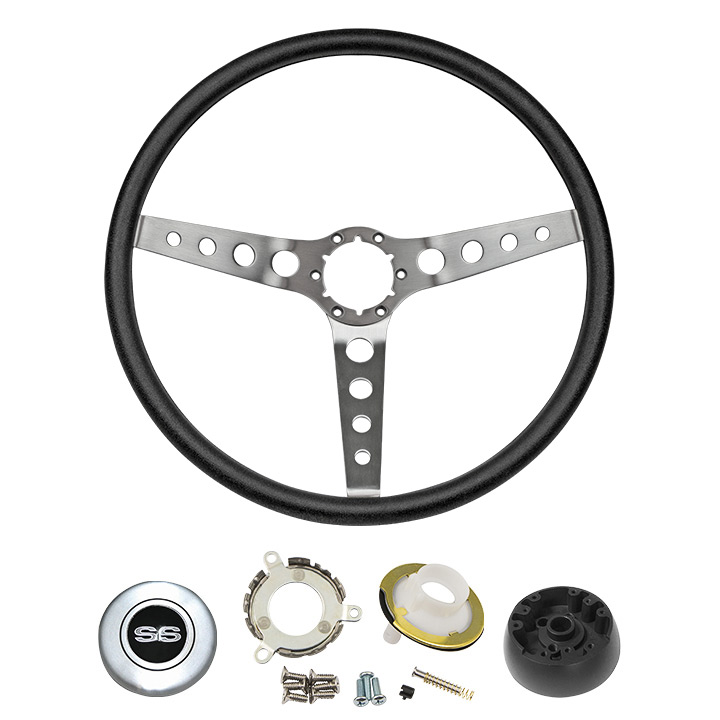 1969-1970 Chevelle Black Comfort Grip Steering Wheel Kit W/ SS Emblem Silver Spoke W/ Holes W/ Tilt
