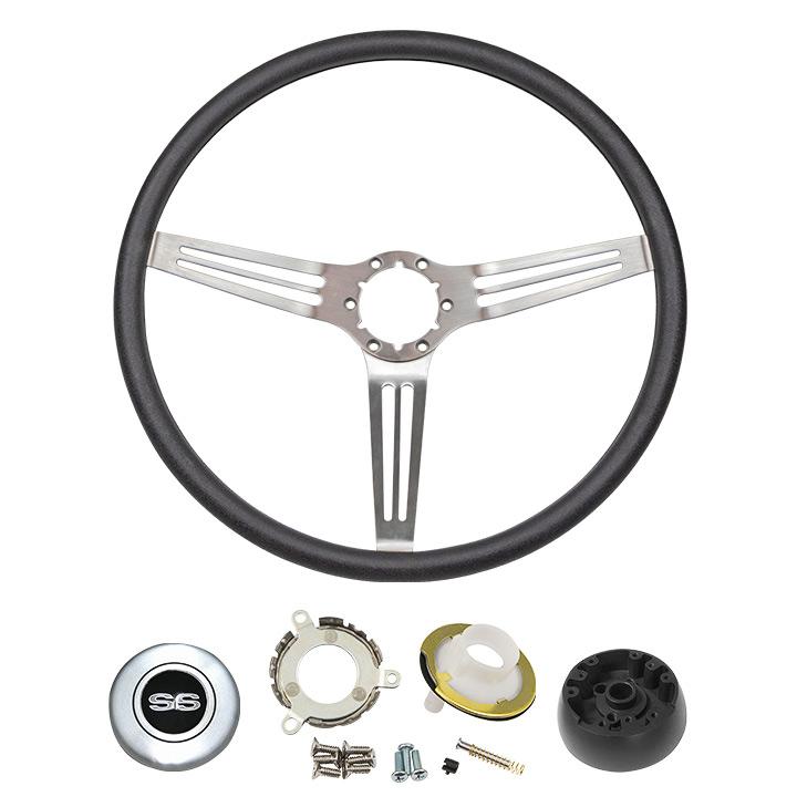 1969-1970 Chevelle Black Comfort Grip Steering Wheel Kit W/ SS Emblem Silver Spoke W/ Slots W/ Tilt
