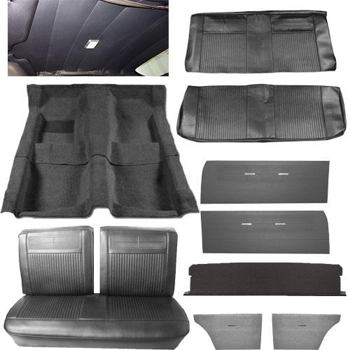 1962 1963 Nova Interior Kit Bench Seat Hardtop Black