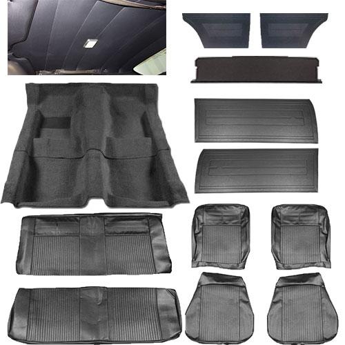 1964 chevy ii nova interior kit bucket seat hardtop black. Black Bedroom Furniture Sets. Home Design Ideas