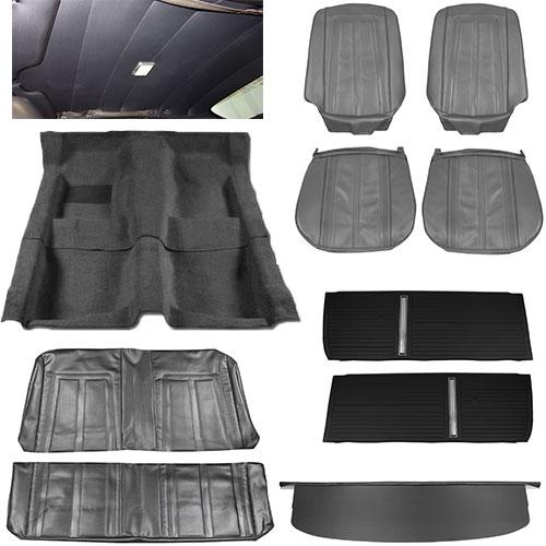 1966 chevy ii nova interior kit super sport ss bench seat 2 door sedan black. Black Bedroom Furniture Sets. Home Design Ideas