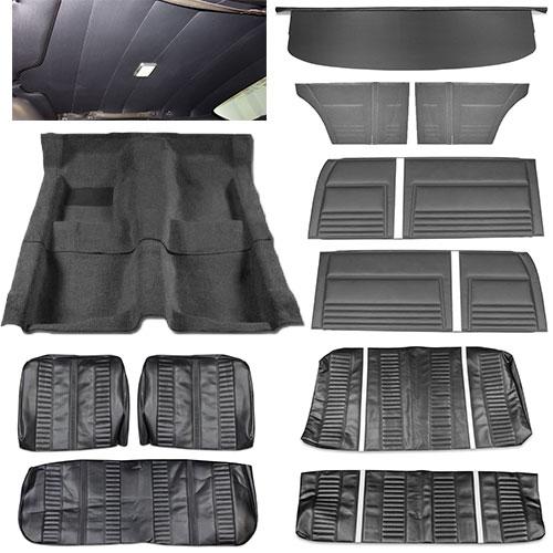 1967 chevy ii nova interior kit super sport ss bench seat hardtop black. Black Bedroom Furniture Sets. Home Design Ideas
