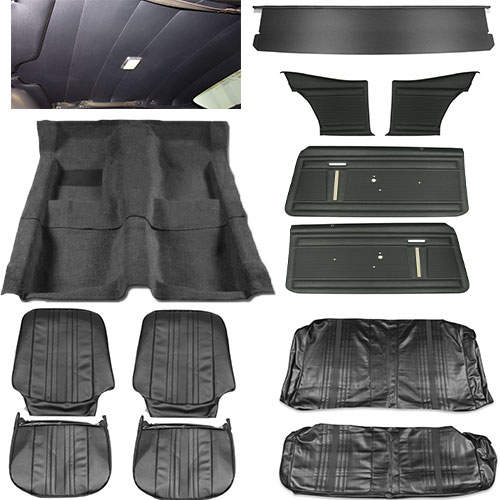 1969 1970 Nova Interior Kit Standard Buckets Black