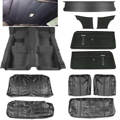 1971 nova interior kit standard bench black. Black Bedroom Furniture Sets. Home Design Ideas