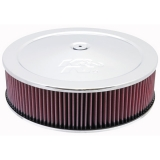 1967-1992 Camaro K&N 14x4 Chrome Air Filter Assembly with 7/8 inch Drop Base: 60-1440