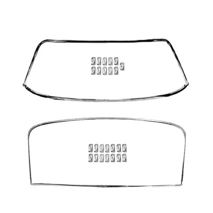 1968-1972 Nova Front And Rear Windshield Molding Kit With Clips