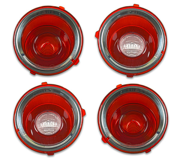 1971-1973 Camaro Standard Tail Lamp Lens Kit Without Chrome Center Trim Ring 2nd Design