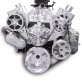 EMS S-Drive Plus Serpentine Pulley System, Billet PS Reservoir, Small Block, Clear Coat: MS107-10BCL