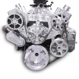 EMS S-Drive Plus Serpentine Pulley System, Billet PS Reservoir, Small Block, Polished: MS107-10BP