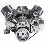 EMS S-Drive Plus Serpentine Pulley System, No AC, Billet PS Res, Small Block, Clear Anodized