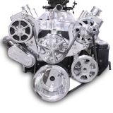 EMS S-Drive Plus Serpentine Pulley System, Plastic PS Reservoir, Big Block, Clear Coat: MS107-13CL