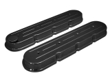 1967-2002 Camaro Eddie Motorsports Chevy LS Cast Valve Covers, Ball Milled, Gloss Black: MS108-51BL