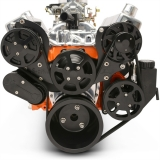 EMS Small Block Raven S-Drive Plus 8Rib Serpentine System, Plastic PS Res, Gloss Black Anodized