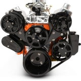 EMS Small Block Raven S-Drive Plus 8Rib Serpentine System, Billet PS Res, Gloss Black Finish