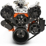 EMS Small Block Raven S-Drive Plus 8Rib Serpentine System, Billet PS Res, Matte Black Finish