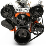 EMS Small Block Raven S-Drive Plus 8Rib Serpentine System, Remote Res, Gloss Black Fusioncoat