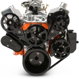 EMS Small Block Raven S-Drive Plus 8Rib Serpentine System, No AC, Billet PS Res, Gloss Black Finish