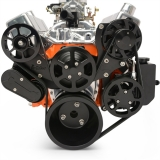 EMS Small Block Raven S-Drive Plus 8Rib Serpentine System, No AC, Billet PS Res, Matte Black Finish
