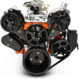 EMS Big Block Raven S-Drive Plus 8Rib Serpentine System, Plastic PS Res, Gloss Black Anodized