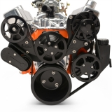 EMS Big Block Raven S-Drive Plus 8Rib Serpentine System, No AC, Plastic PS Res, Gloss Black Anodized