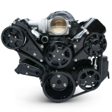 EMS LS Series Raven Elite S-Drive Plus 8Rib Serpentine System, Billet PS Res, Gloss Black Anodized