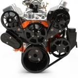 EMS Big Block Raven S-Drive 6Rib Serpentine System, No AC, Plastic PS Res, Gloss Black Anodized