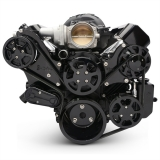 EMS LS Series Raven S-Drive Plus 8Rib Serpentine System, Billet PS Res, Gloss Black Finish