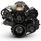 EMS LS Series Raven S-Drive Plus 8Rib Serpentine System, No AC, Billet PS Res, Gloss Black Finish