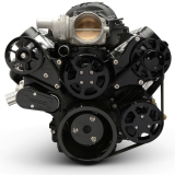 EMS LS Series Raven S-Drive Plus 8Rib Serpentine System, No AC, Remote Res, Gloss Black Anodized