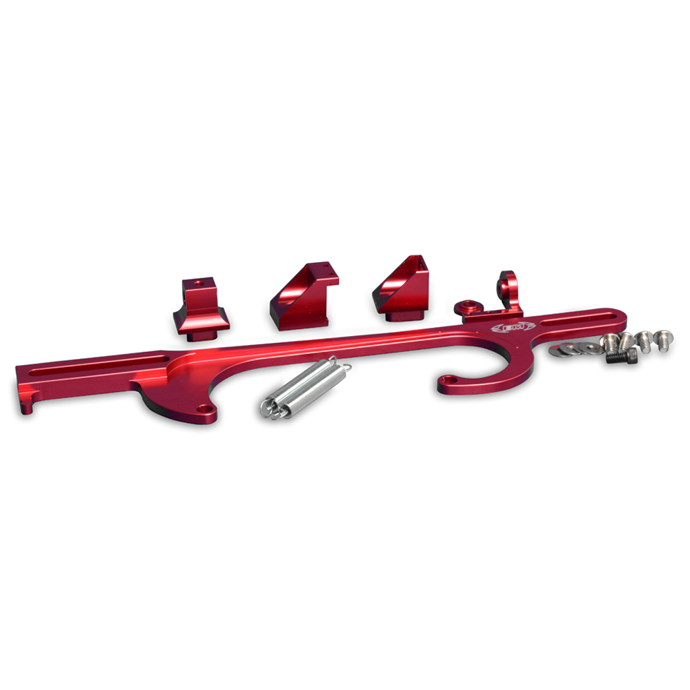 Eddie Motorsports Billet GM Throttle Cable Brackets, Holley 4150/4160 Series Carbs - Red: MS142-08R