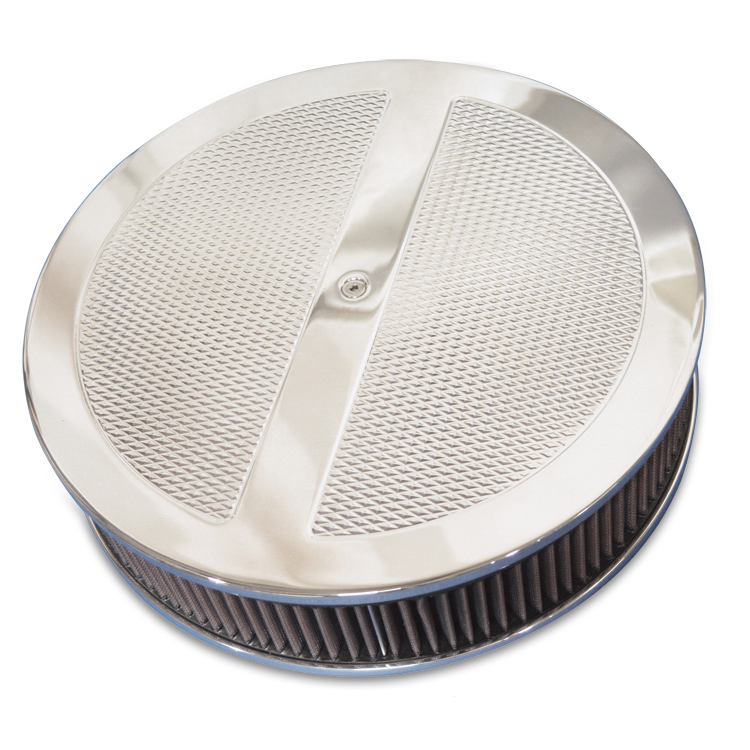 Eddie Motorsports Diamond Series Round 14 Inch Air Cleaner Assembly - Polished: MS215-69P