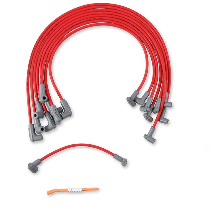 1962-1979 Nova MSD Race Tailored Super Conductor Spark Plug Wire Set, SBC w- HEI Cap, Red