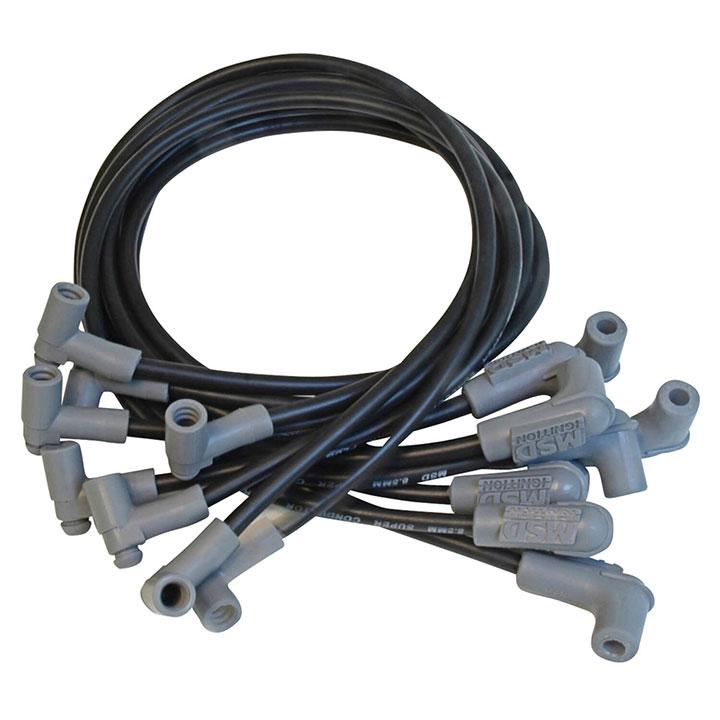 1962-1979 Nova MSD Race Tailored Super Conductor Spark Plug Wire Set, BBC HEI Tower Cap Black