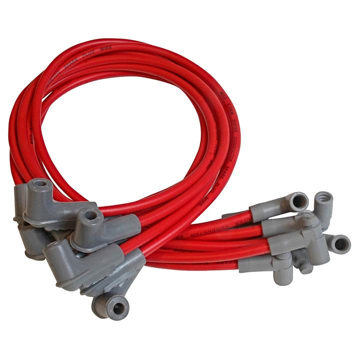 1962-1979 Nova MSD Race Tailored Super Conductor Spark Plug Wire Set, BBC HEI Tower Cap, Red